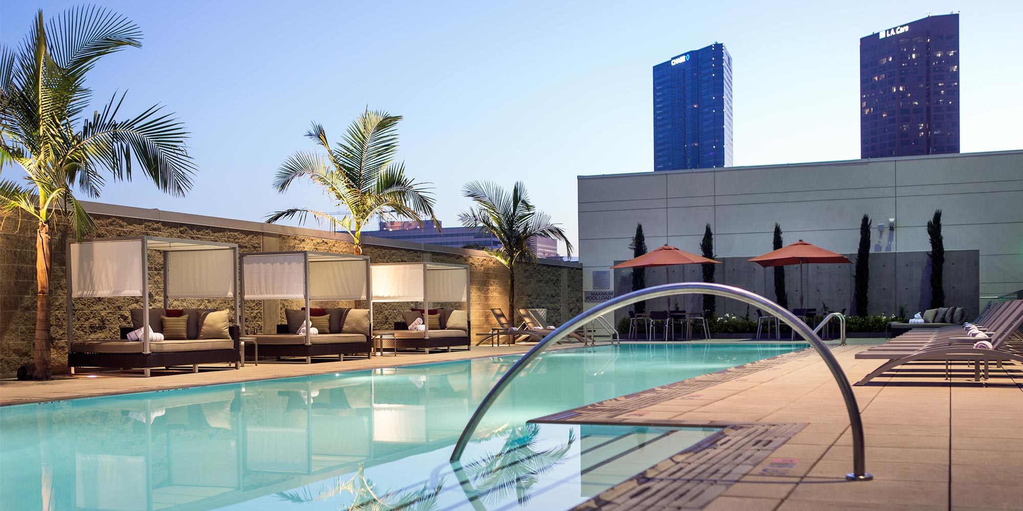 The pool and courtyard at LA Marriott at L.A. Live